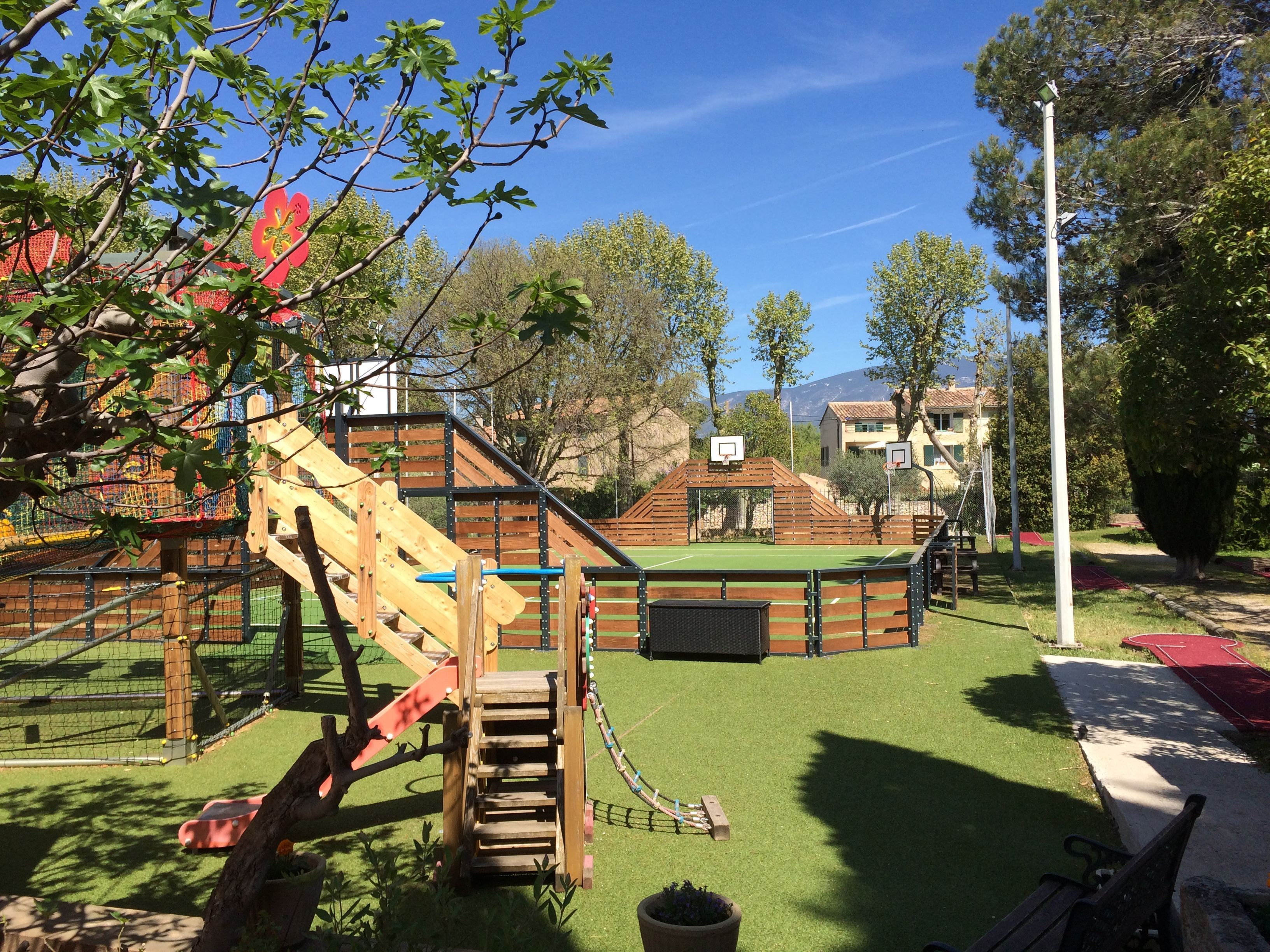 Zip line, games playgrounds and sports area